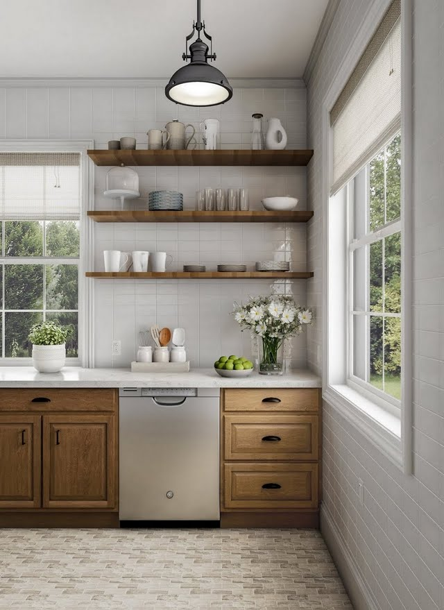Farmhouse Kitchen in Wood and White