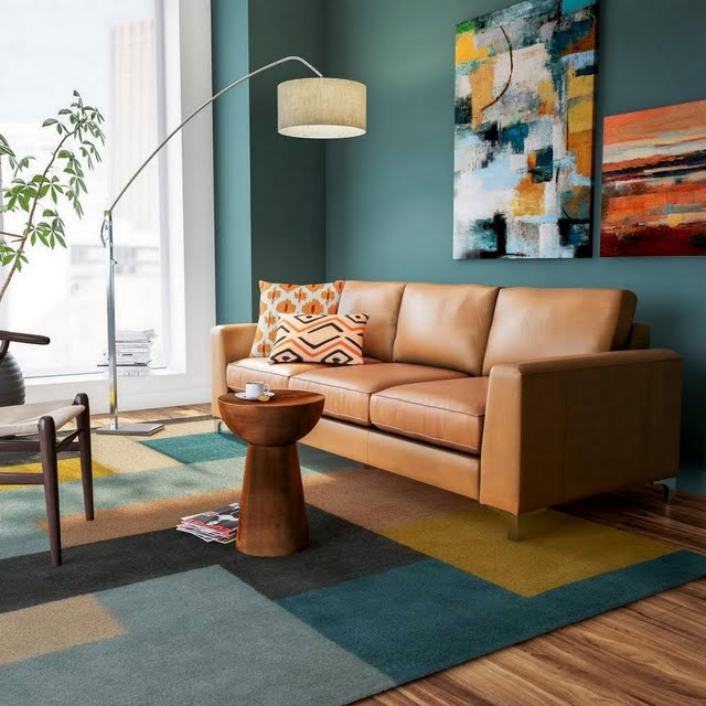 Modern Teal Living Room