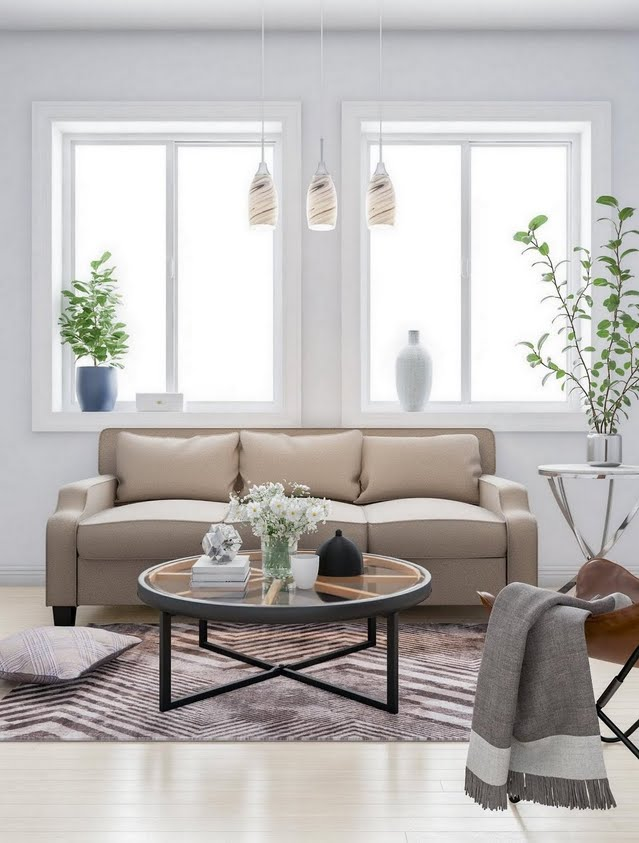 Gray and Buff Classic Living Room