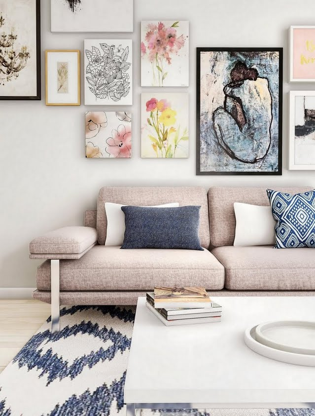 Coastal Living Room with Art Gallery