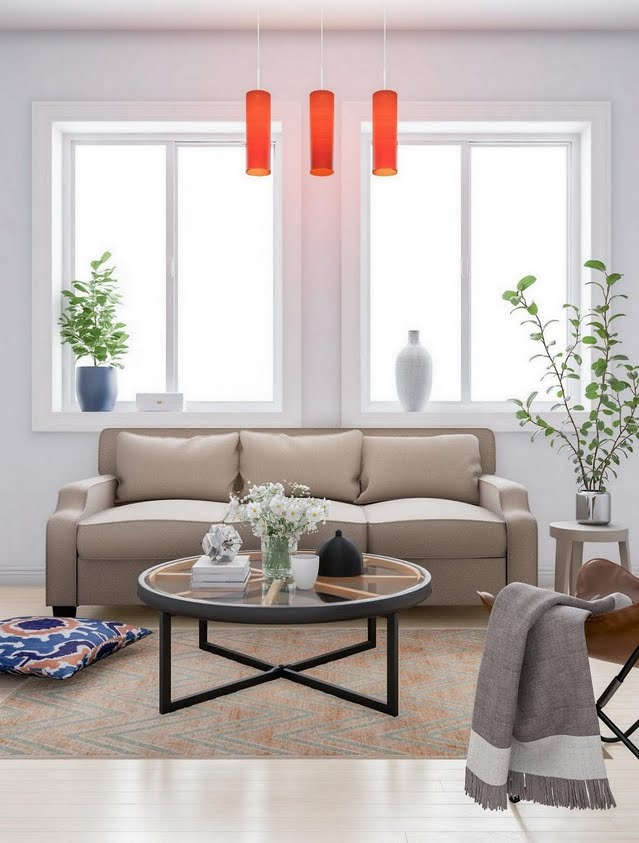 Ecru Living Room with Red Accent