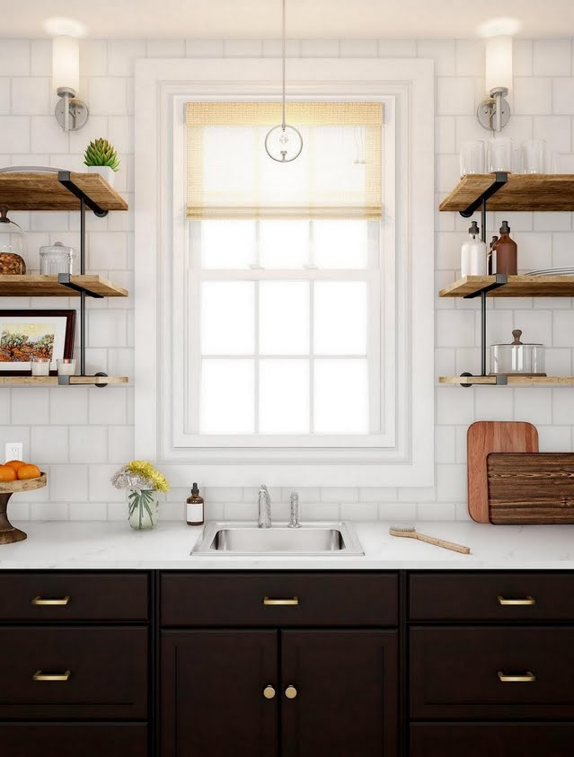 Contrast Kitchen with Sconces