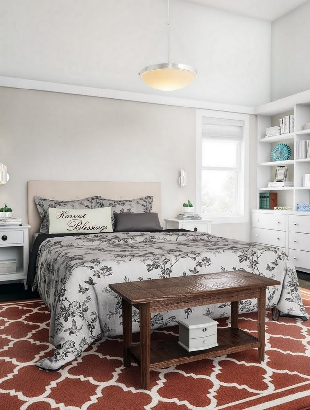 Classic Low-Contrast Bedroom with Rust Red