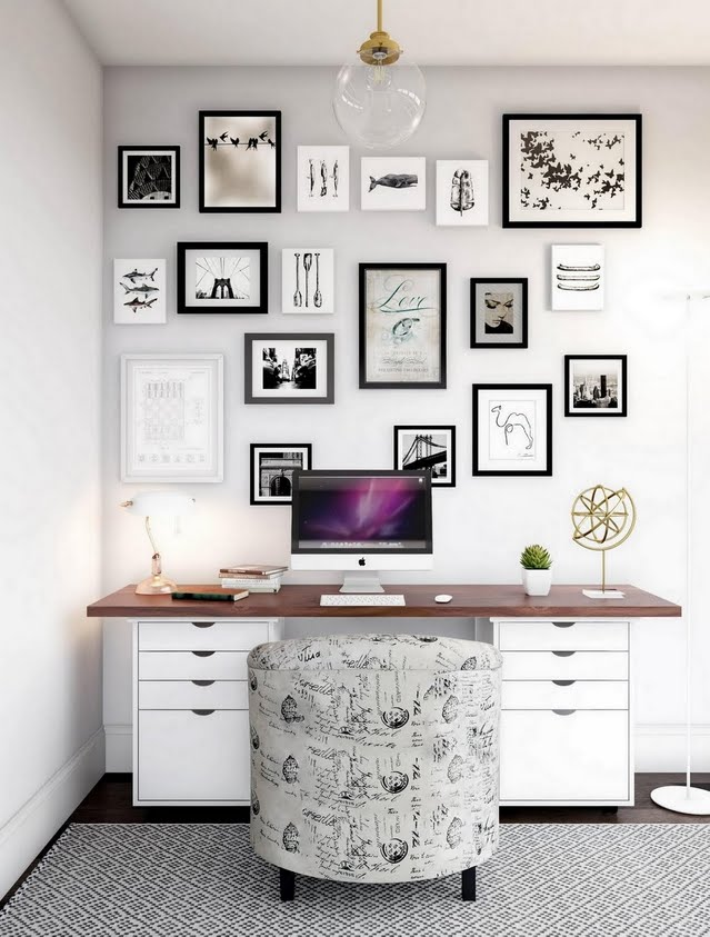 Gray Home Office with Prints