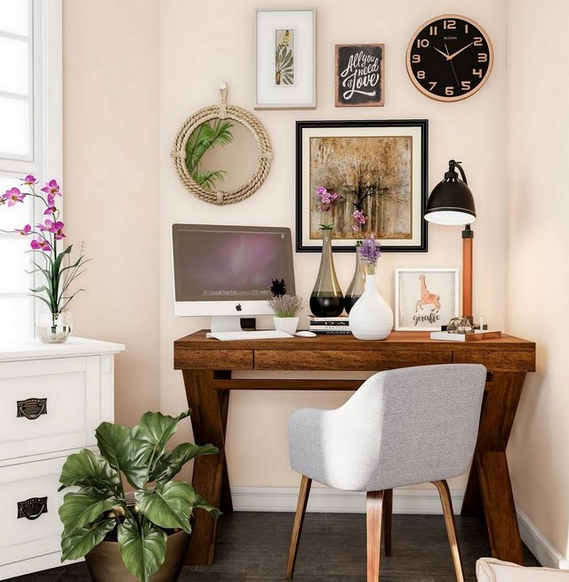 Modern Blush and Wood Home Office