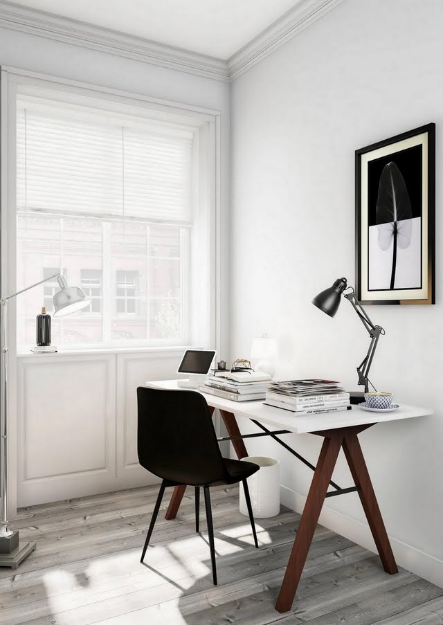 Modern Grayscale Home Office