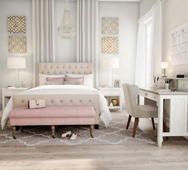 Glam Pink and Buff Bedroom