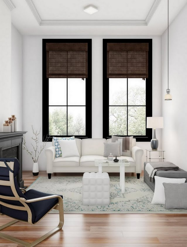 Cream and Pale Blue Living Room