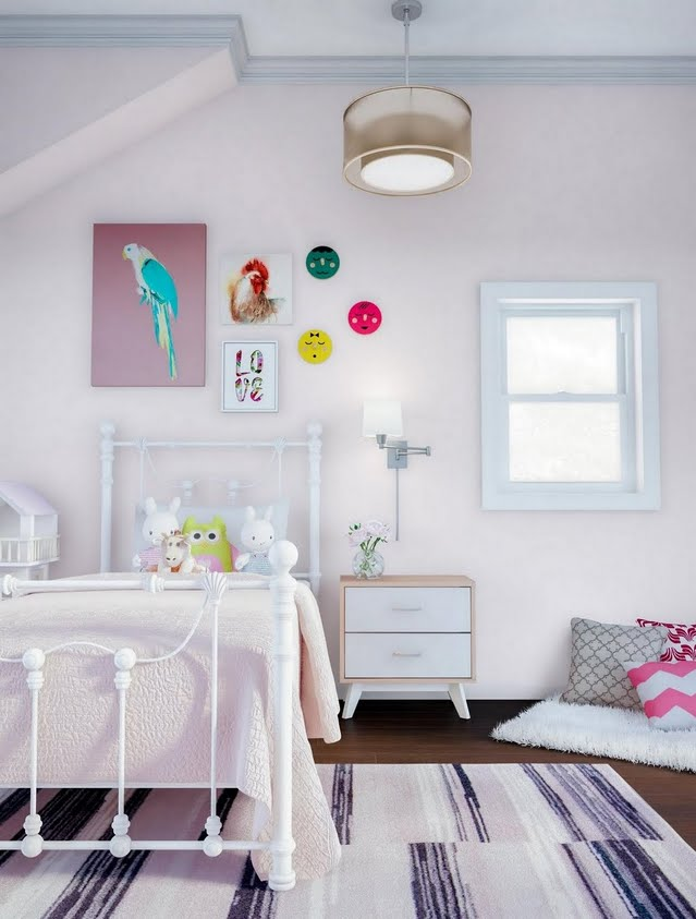 Contemporary Pink And White Girls Bedroom