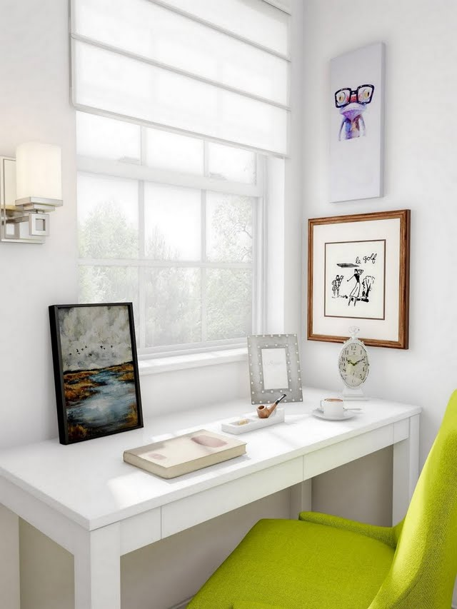 Home Office with Lime Accent