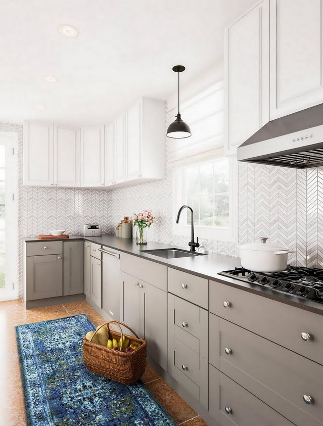Classic White and Herringbone Kitchen
