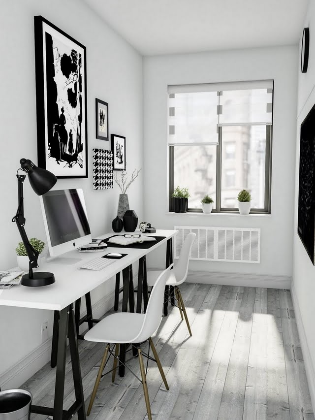 Modern Black and White Home Office