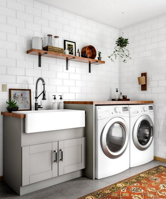 Flat Gray Cottage Laundry Room