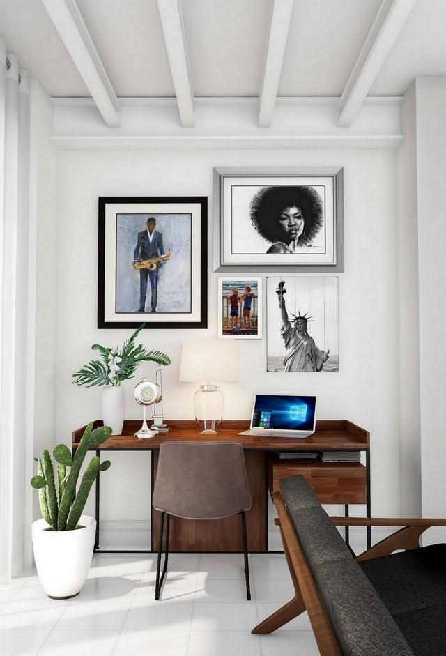 Modern White Home Office with Gallery