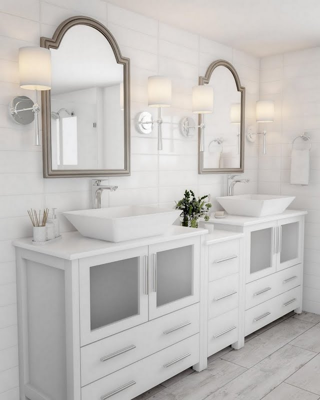 Modern White And Antique Gold Bathroom