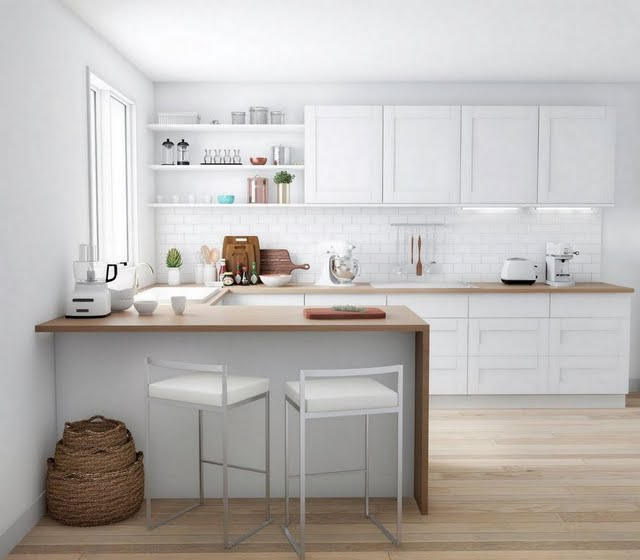 Modern Kitchen in Wood and White