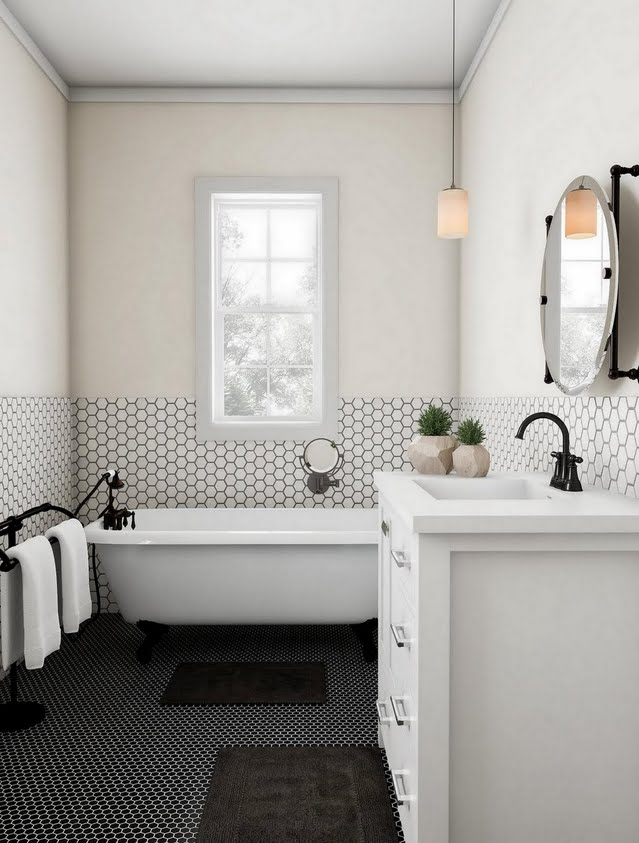 Cream and Black-on-Black Bathroom