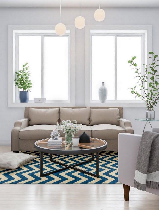 Teal Chevron Living Room