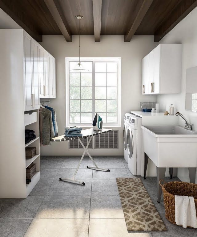 Classic Laundry Room with Oversized Basin and Cubbies