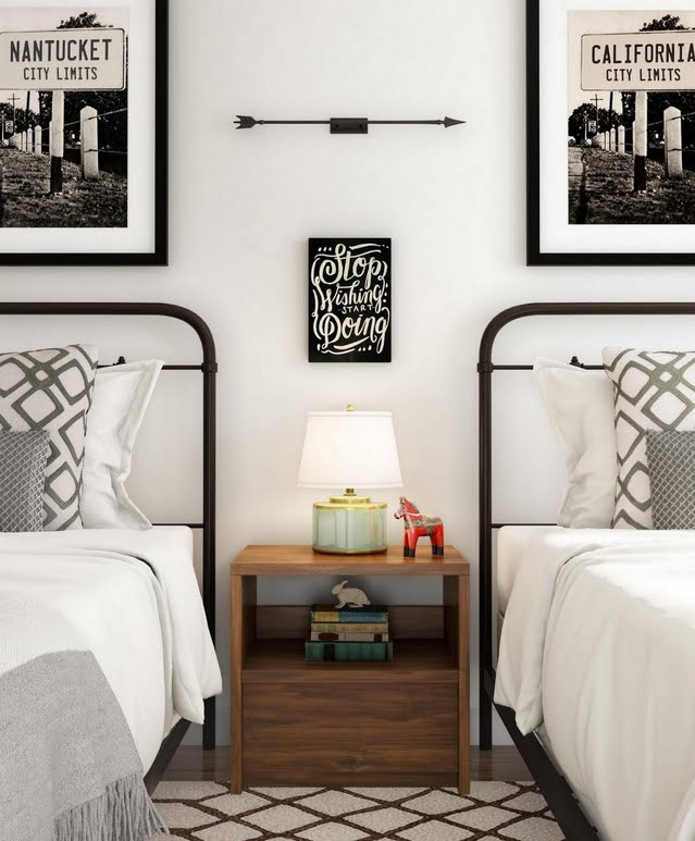 Modern Bedroom for Two with Black Accents