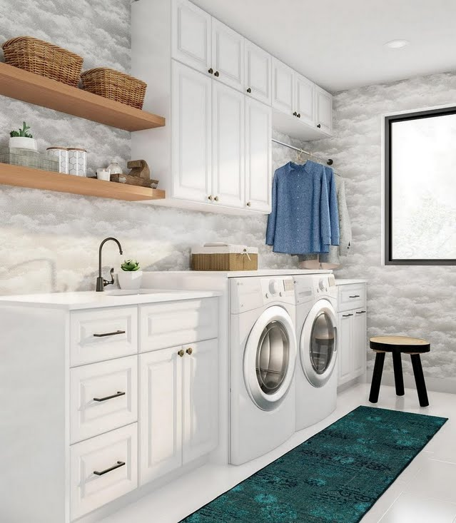 Modern Cloud White Laundry Room