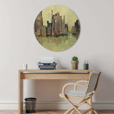 """Second City"" Circular Gold Canvas Giclee Printed on 2"" Wood Stretcher Wall Art"