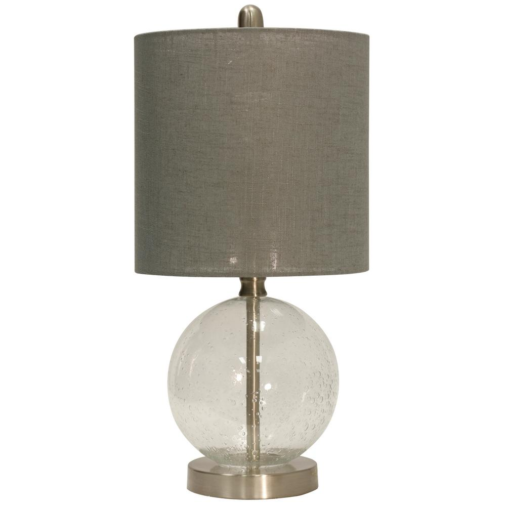 Attrayant StyleCraft. 19 In. Seeded Glass Table Lamp With Gray Hardback Fabric Shade
