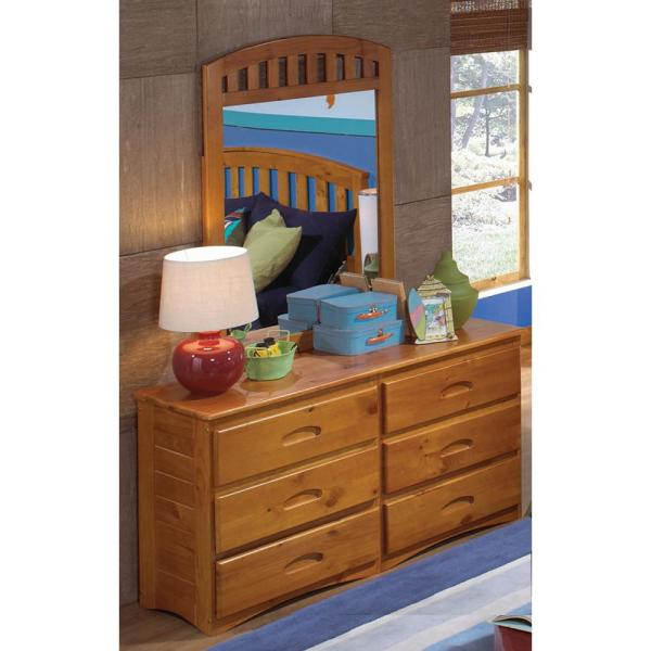 American Furniture Classics Solid Pine 6 Drawer Honey Dresser With