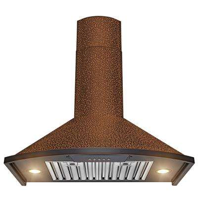 30 in. Convertible Kitchen Wall Mount Range Hood in Embossing Copper with Halogen and Push Control