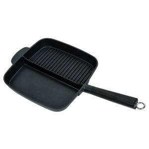 Sectional Series 11 in. Cast Aluminum Nonstick Grill Pan in Black with Split Section