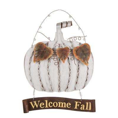 19.09 in. H Galvanized Pumpkin Welcome Sign