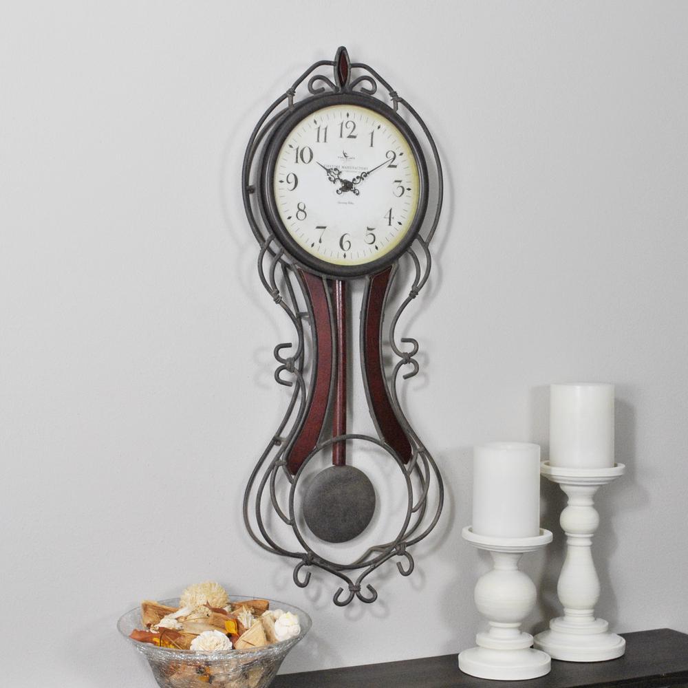 Firstime 24 in h fleur pendulum wall clock 00176 the home depot h fleur pendulum wall clock amipublicfo Gallery