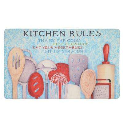 Rules with Utensils Multi 18 in. x 30 in. Kitchen Mat