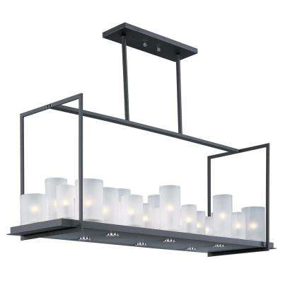 Urban Nights 29-Light Textured Black Chandelier with Frosted Shade
