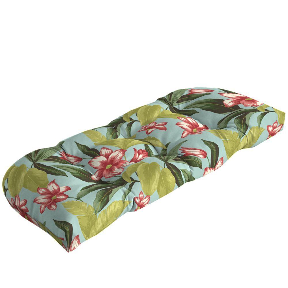 Hampton Bay Riviera Bloom Tufted Outdoor Bench Cushion-DISCONTINUED