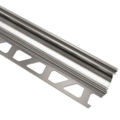 Dilex-AHK Brushed Nickel Anodized Aluminum 3/8 in. x 8 ft. 2-1/2 in. Metal Cove-Shaped Tile Edging Trim