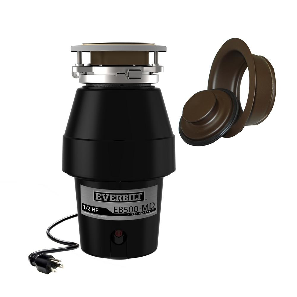 Everbilt Designer Series 1/2 HP Continuous Feed Garbage Disposal with Oil Rubbed Bronze Sink Flange and Attached Power Cord