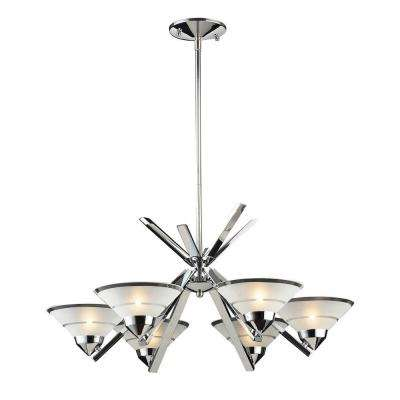 Refraction 6-Light Polished Chrome Chandelier With Etched Clear Glass Shades