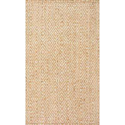 Alanna Diamond Jute Natural 9 ft. 6 in. x 13 ft. 6 in. Area Rug