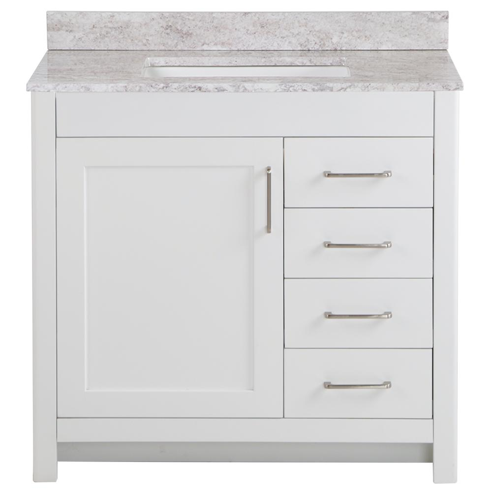 Home Decorators Collection Westcourt 37 in. W x 22 in. D Bath Vanity in White with Stone Effect Vanity Top in Winter Mist with White Sink