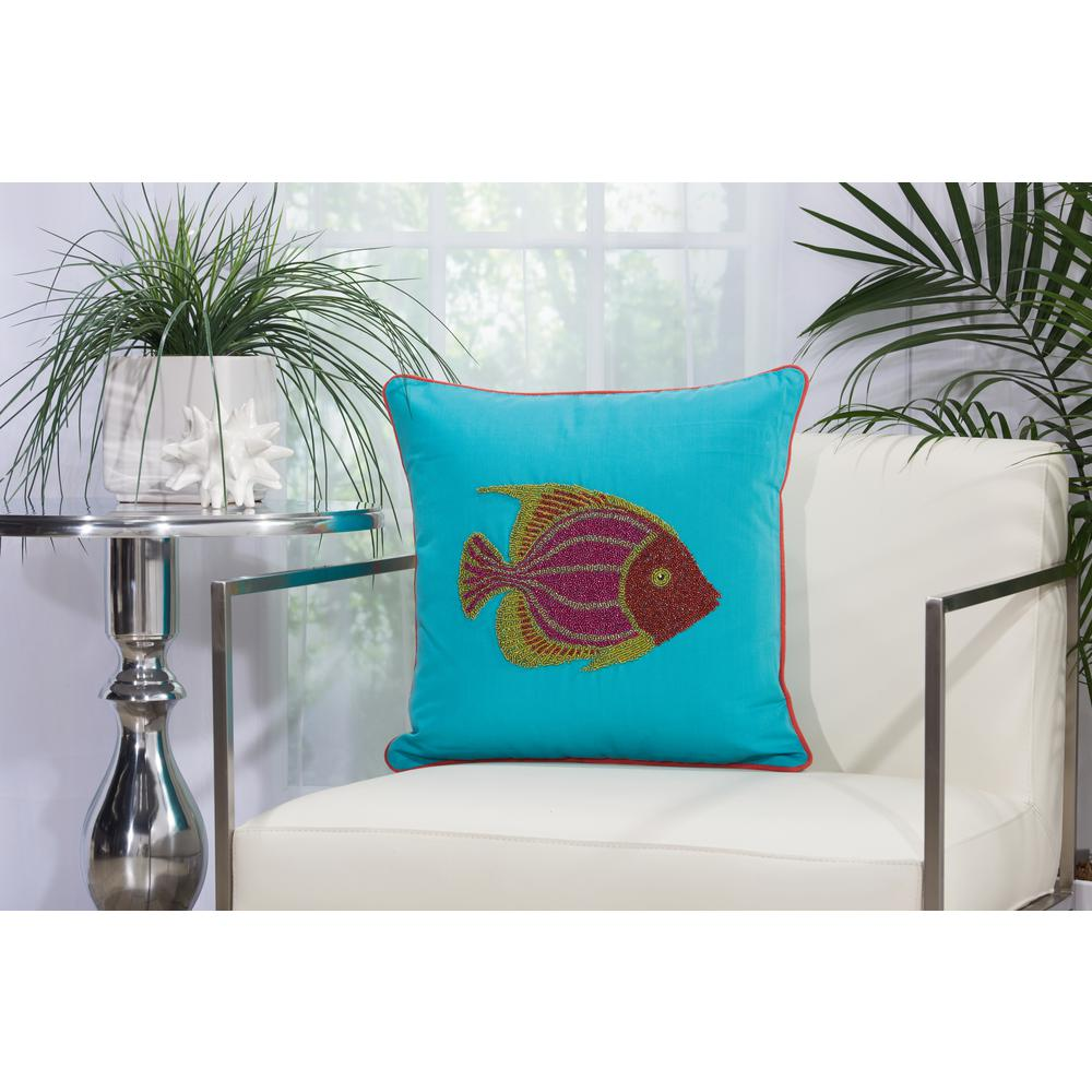 Beaded Fish 18 in. x 18 in. Turquoise and Coral Indoor