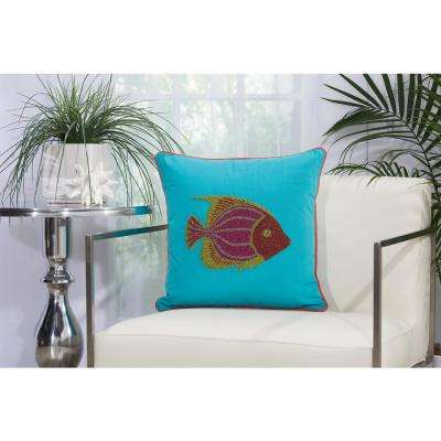 Beaded Fish 18 in. x 18 in. Turquoise and Coral Indoor and Outdoor Pillow