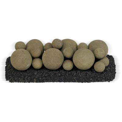 18 in. x 6 in. Nutmeg Brown Mixed Set, 6-4 in. Lite Stone Balls, 14-2 in. Lite Stone Balls with 5 lbs. Small Lava Rock