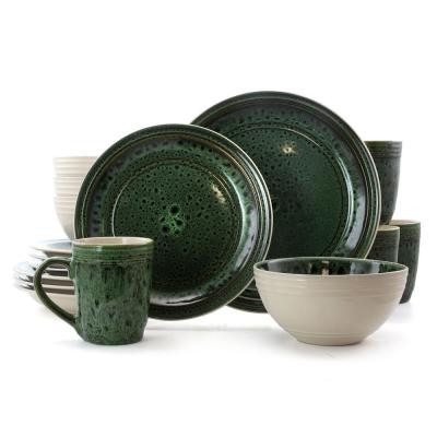 Blue Jade 16-Piece Green Stoneware Dinnerware Set (Service for 4)