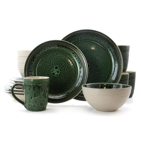 Blue Jade 16-Piece Modern Green Stoneware Dinnerware Set (Service for 4)