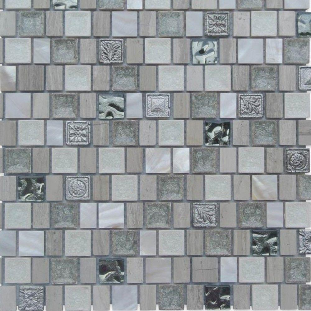 Ivy Hill Tile Charm II Pearly 12 in. x 12 in. x 8 mm Glass and Stone Mosaic Tile