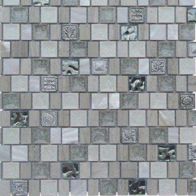 Charm II Pearly 12 in. x 12 in. x 8 mm Glass and Stone Mosaic Tile