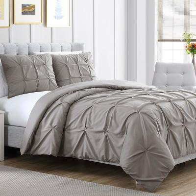 3-Piece Embellished Ella Gray Queen Duvet Set