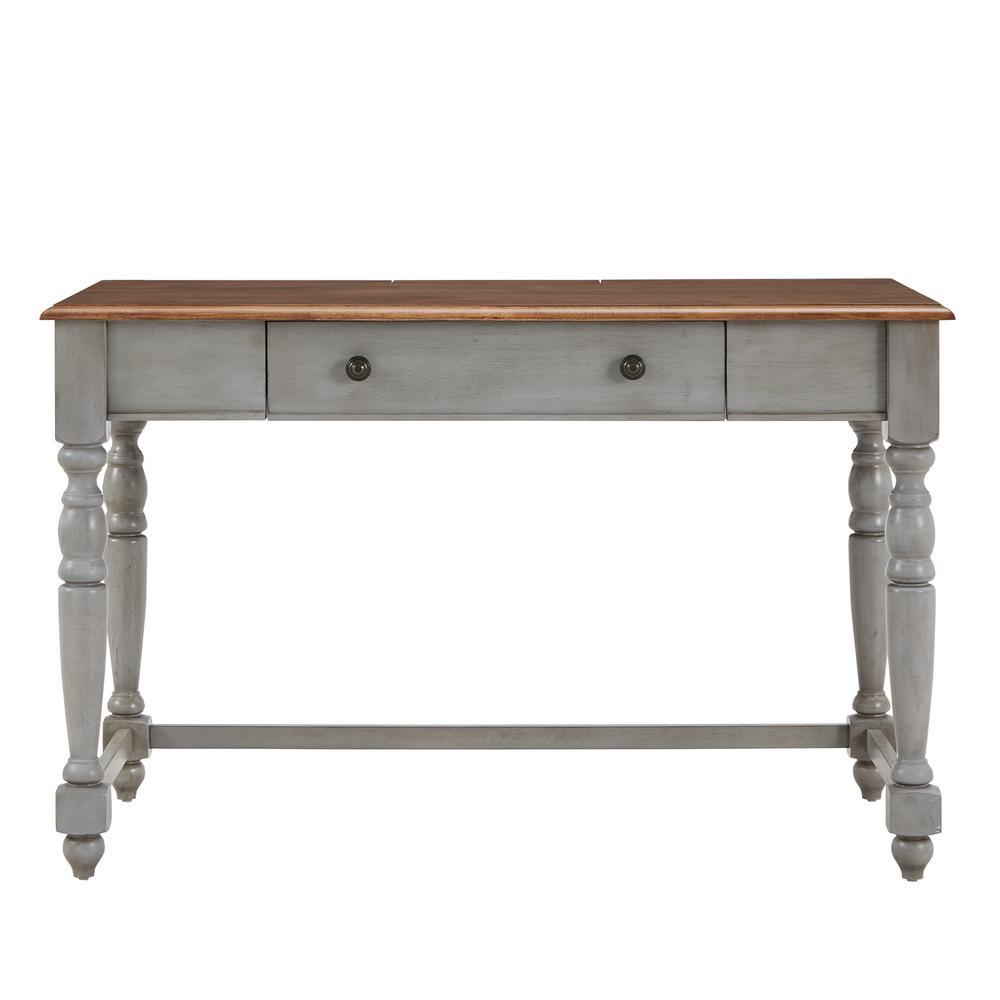 Antique Grey 1-Drawer Desk With Charging Station