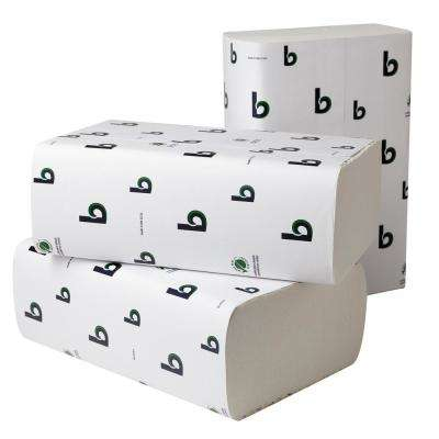 Green Plus 9-1/8 in. x 9-1/2 in. Multi-Fold Towels in White (250-Pack 16-Pack/Carton)